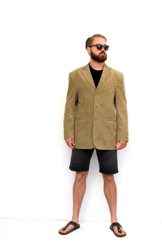 Corduroy Long Sport Coat Classic Men Beige Blazer