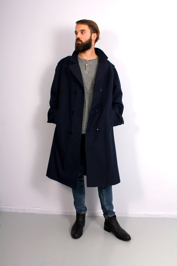 Men Navy Blue Long Trench Coat Belted Double Breas