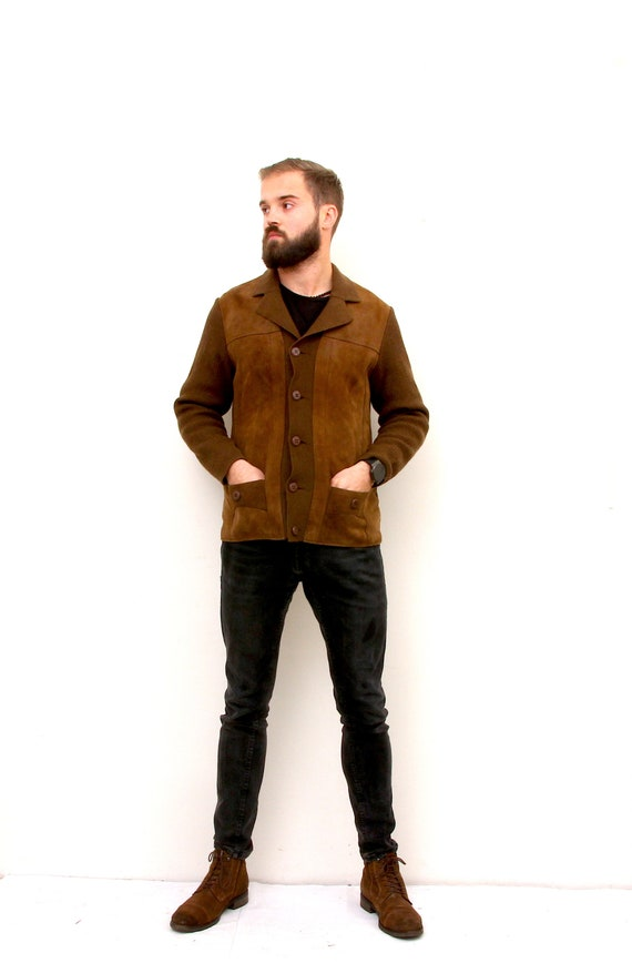Suede Leather Knitted Cardigan 80's Dad's Minimal