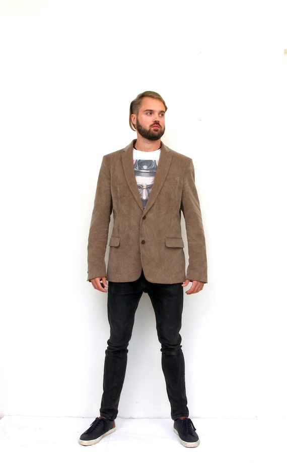 Corduroy Beige Sport Coat Fitted Two Buttons Men B