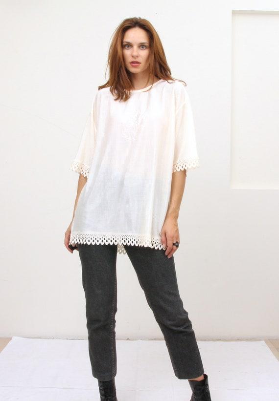 Vintage Cream Bed Top Crochet Feminine Tee Blouse  XL XXL