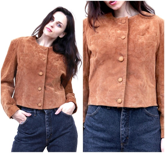 Suede Leather Western Women Jacket Cowgirl Brown S