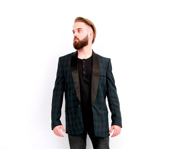 Men's Green Plaid Tuxedo Jacket Suit Blazer Groom