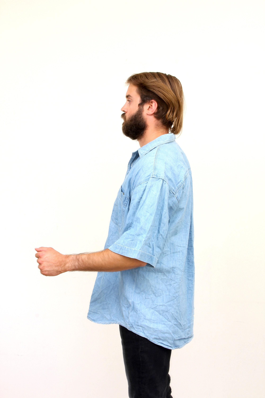 90/'s Short Sleeve Oversized Jeans Shirt Button Down Denim Blue Chemise L XL