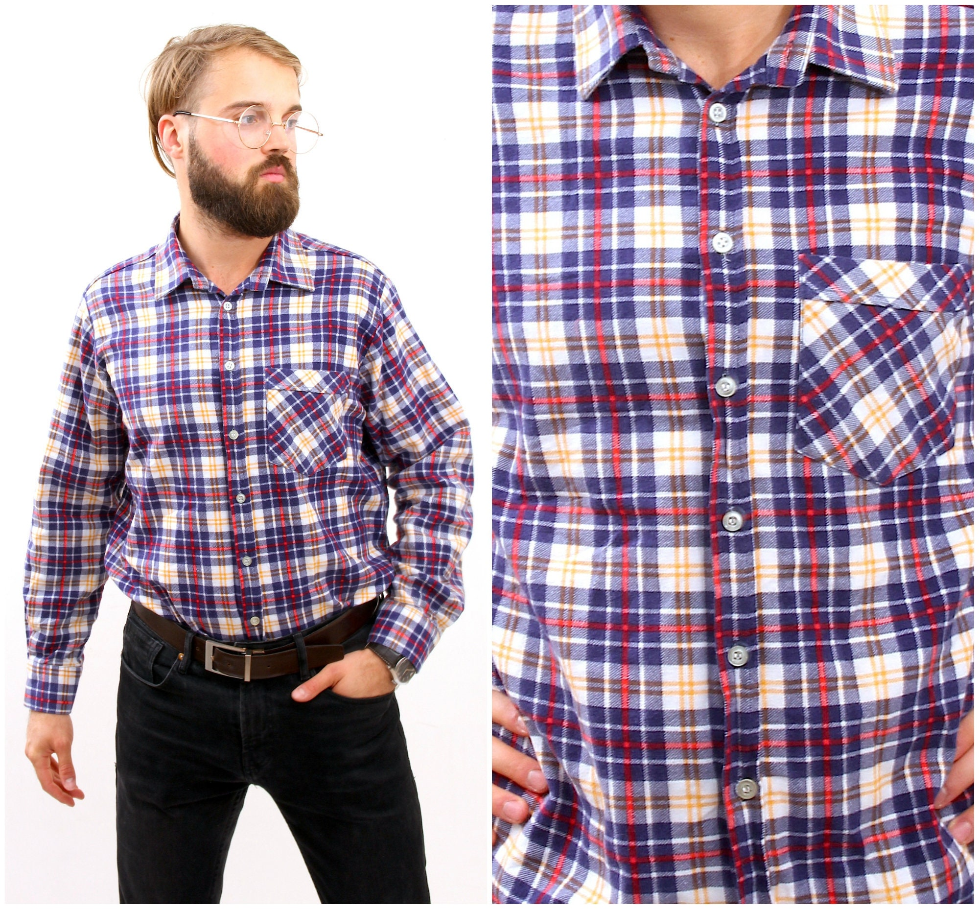 Rrive Men Chest Pocket Plaid Check Long Sleeve Button Up Fashion Shirts