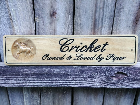 Stable Plaque Horse Stall Signs Barn Wood Signs Horse Name Plate Stall Name Plate Pet Signs Wooden Name Sign Pet Name Sign
