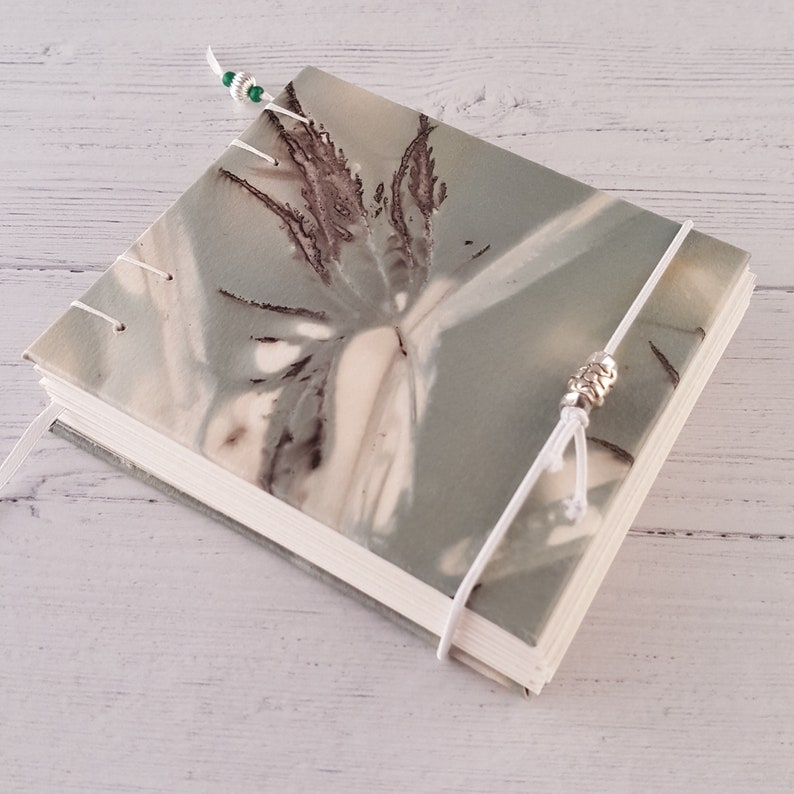 eco print blank handmade journal watercolor painting drawing pick your paper coptic binding 4.5x4 green maple leaf print sketchbook