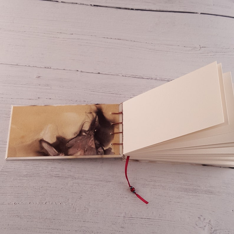 watercolor journal coptic binding eco print book Arches cold pressed watercolor  paper handmade book with hard cover 6x3 sketchbook