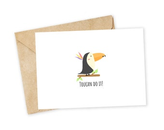 Punny Motivational Card Encouragement Card Motivational Card Toucan Do This Toucan Do It Bird Lover Gift Inspirational Card Cute Card