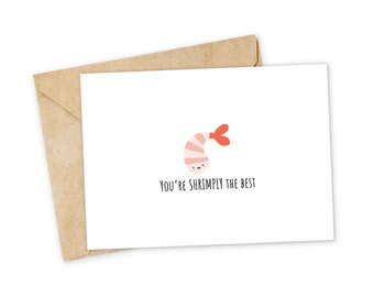 Youre SHRIMPLY The Best Shrimp Greeting Card Happy I Love You Foodie Birthday Nerdy Pun Punny