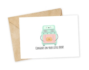 Congratulations on your Little Bun - Bun in the Oven Greeting Card, Love Card, Congrats, Expecting, Baby Shower, Pregnancy, Family