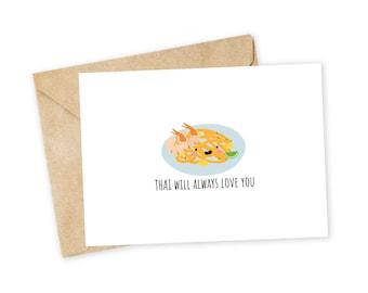 THAI will always love you - Pad Thai Greeting Card, Valentine's Day Card, Handmade Card, Foodie card, Pad Thai, Thai food, Whitney Houston