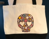 Eco-friendly, multipurpose, canvas tote bag, day of the dead, sugar skull, flowers, dia de los Muertos, shopping, reusable, one-of-a-kind