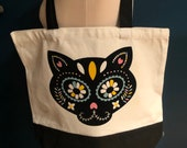 Eco-friendly, multipurpose, canvas tote bag, day of the dead, sugar skull cat, dia de los Muertos, shopping, reusable, one-of-a-kind