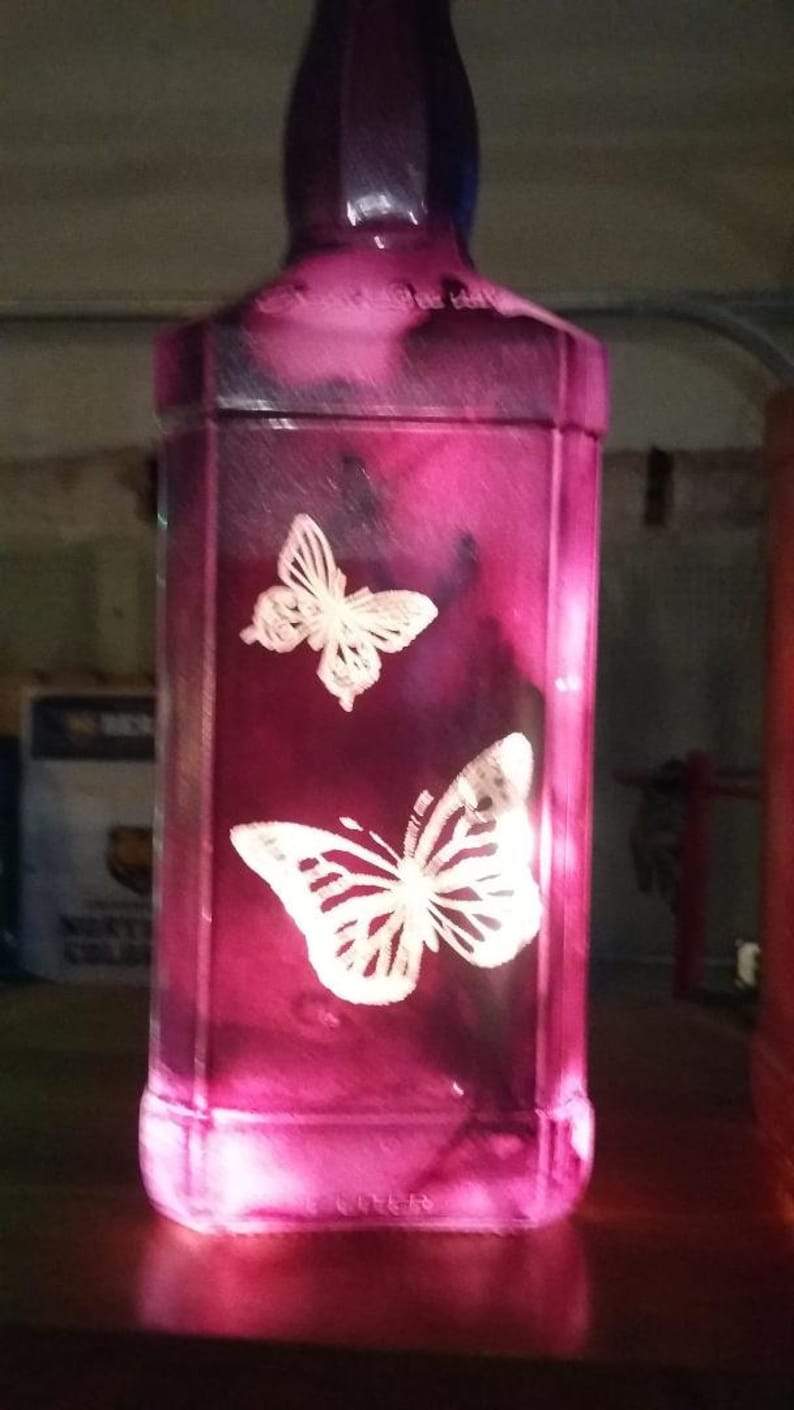 NEW Laser Etched Engraved Metallic Purple Lighted Butterfly image 0