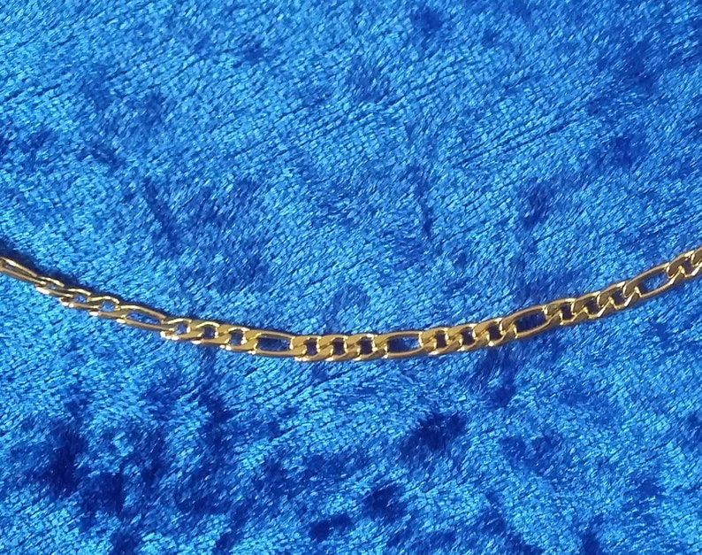 3mm Figaro Chain Pure Stainless Steel Necklace with 18K Gold image 0