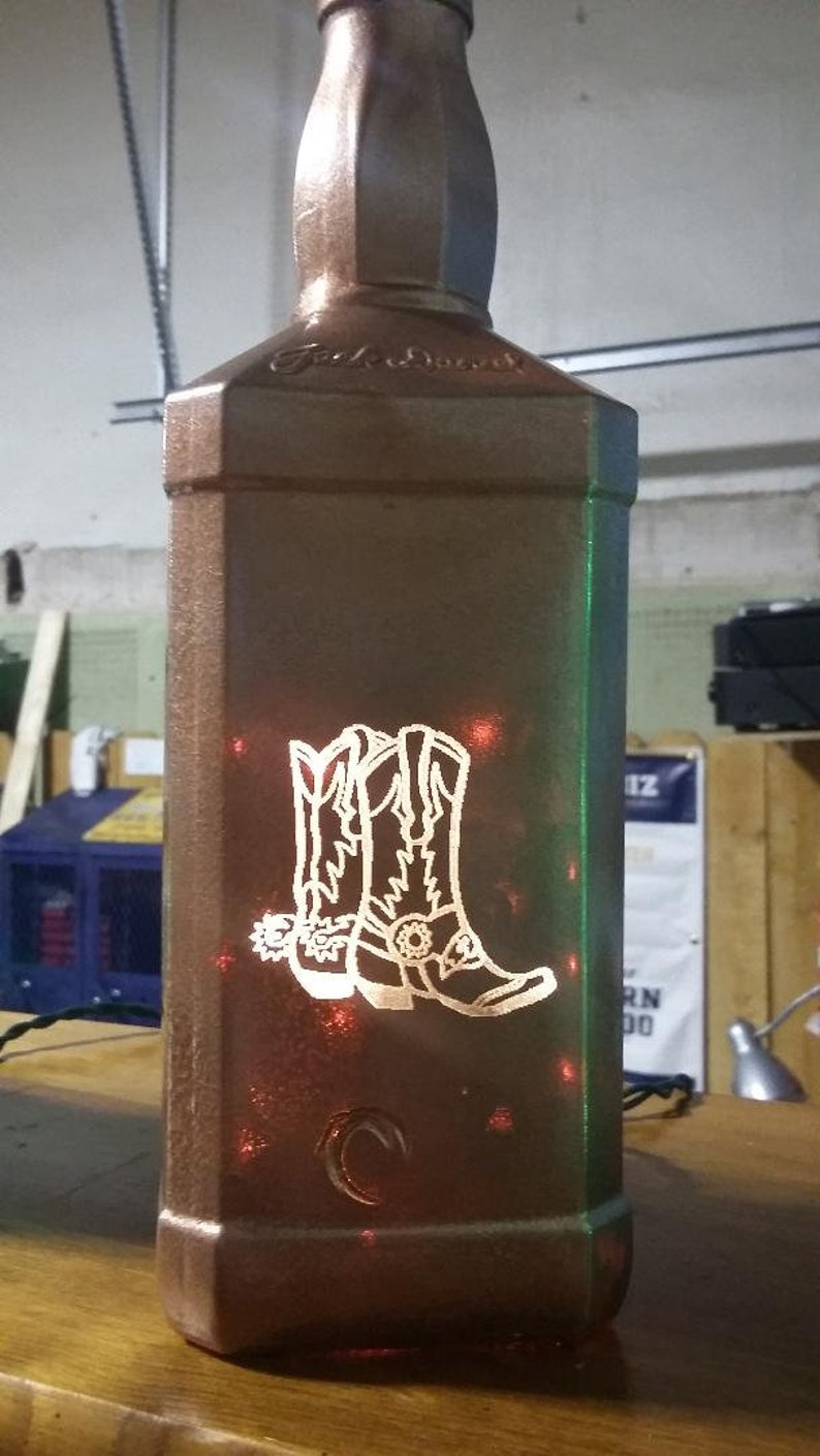 New Laser Engraved Lighted Cowboy Boots Whiskey Bottle  FREE image 0