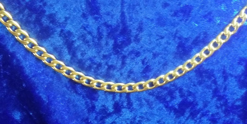 7.5mm Curb Pure Stainless Steel   18K Gold Plated Necklace image 0