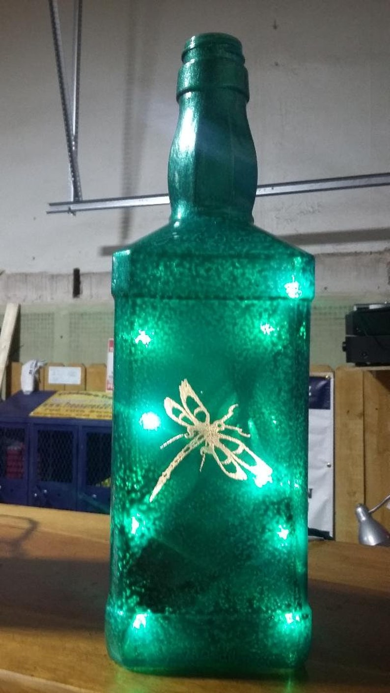 New Laser Engraved Lighted Hammered Green Dragonfly Whiskey image 0