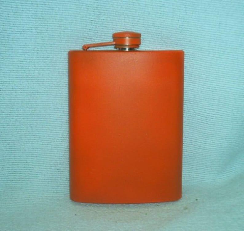 Custom Laser Engraved Pumpkin Orange 8-oz Flask  Flask Funnel image 0