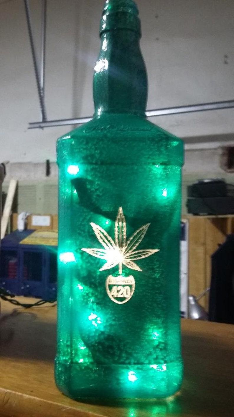 New Laser Engraved Lighted Hammered Green Pot Leaf Route 420 image 0