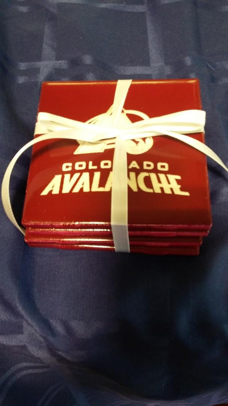 NEW Custom Laser Engraved 4-Pack Of Colorado Avalanche Ceramic image 0