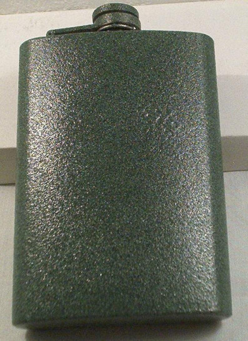 Custom Laser Engraved Textured Sea Green 8-oz Flask  Flask image 0