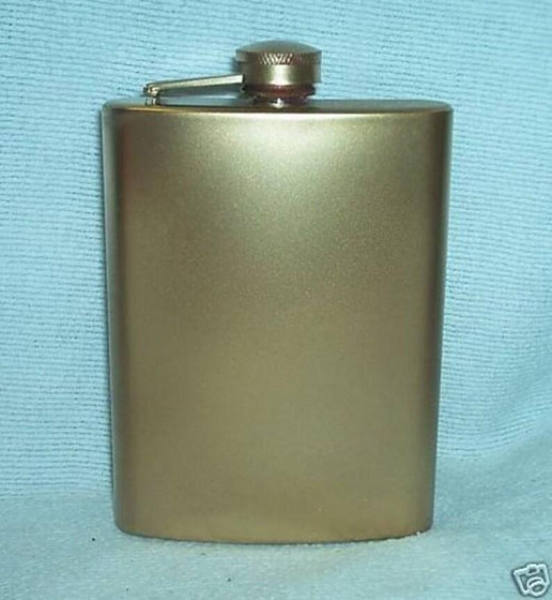 Custom Laser Engraved Metallic Gold 8-oz Flask  Flask Funnel image 0