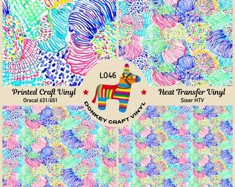 Adhesive Vinyl Iron on Printed HTV Pink Poppy Flowers Pattern Vinyl 705