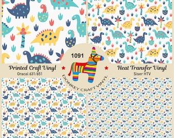 Kids Dinosaurs Pattern Printed HTV,Pattern Vinyl Pattern HTV Patterned Vinyl Siser Heat Transfer Vinyl Oracal Adhesive Craft Vinyl-1127