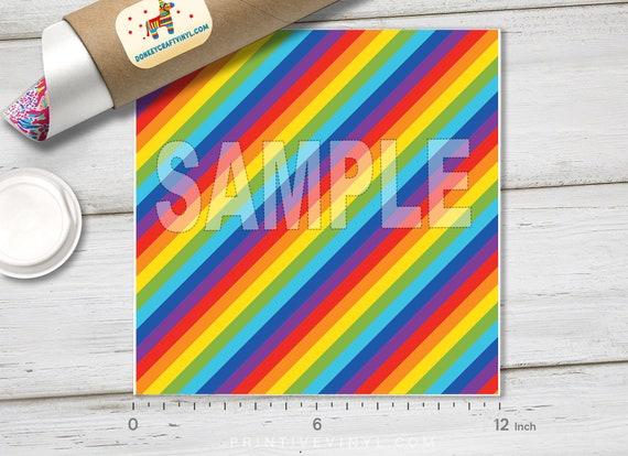 Pattered Iron on Vinyl Craft vinyl 254 Rainbow Diagonal Stripes Printed HTV