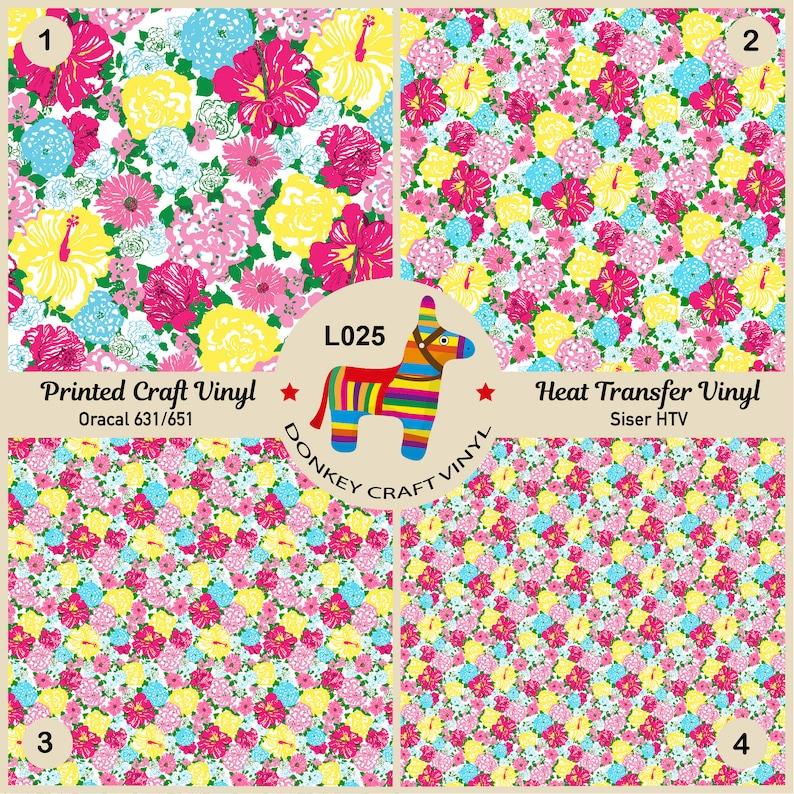Floral Pattern Vinyl Glitter HTV Patterned Iron on Vinyl Siser Heat Transfer Vinyl Oracal Adhesive Vinyl L025