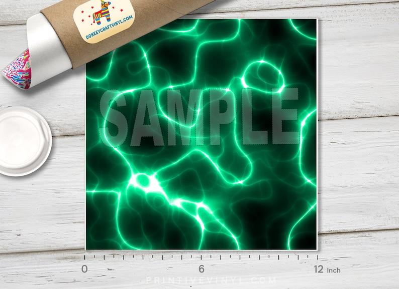 Green Electricity Lightning Printed  HTV Pattern HTV Siser Heat Transfer Vinyl Patterned Vinyl Oracal Adhesive Craft Vinyl- 413