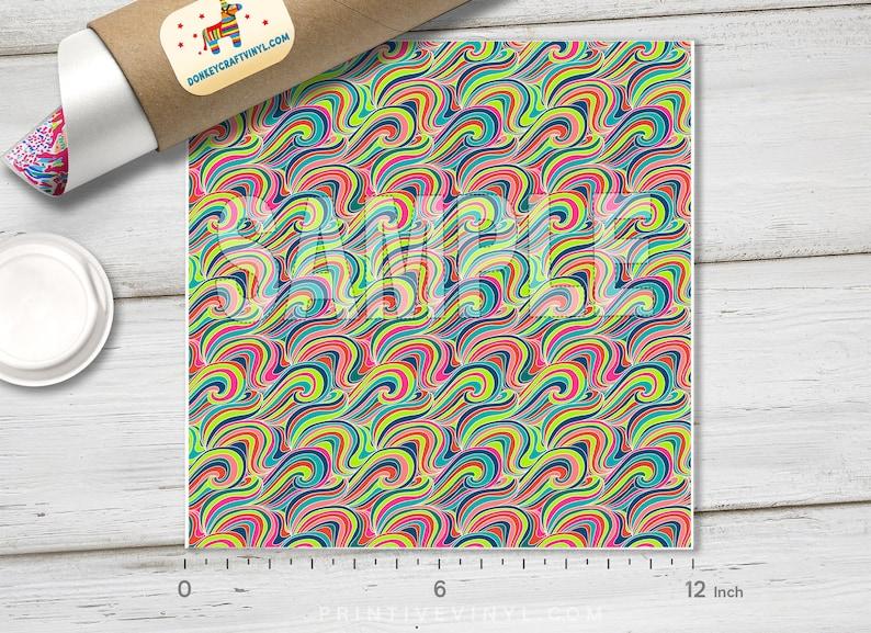 Colorful Curly Wave Oil Slick Printed HTV Oracal Adhesive Craft Vinyl- 170 Patterned HTV Heat Transfer Vinyl Pattern Vinyl Glitter HTV