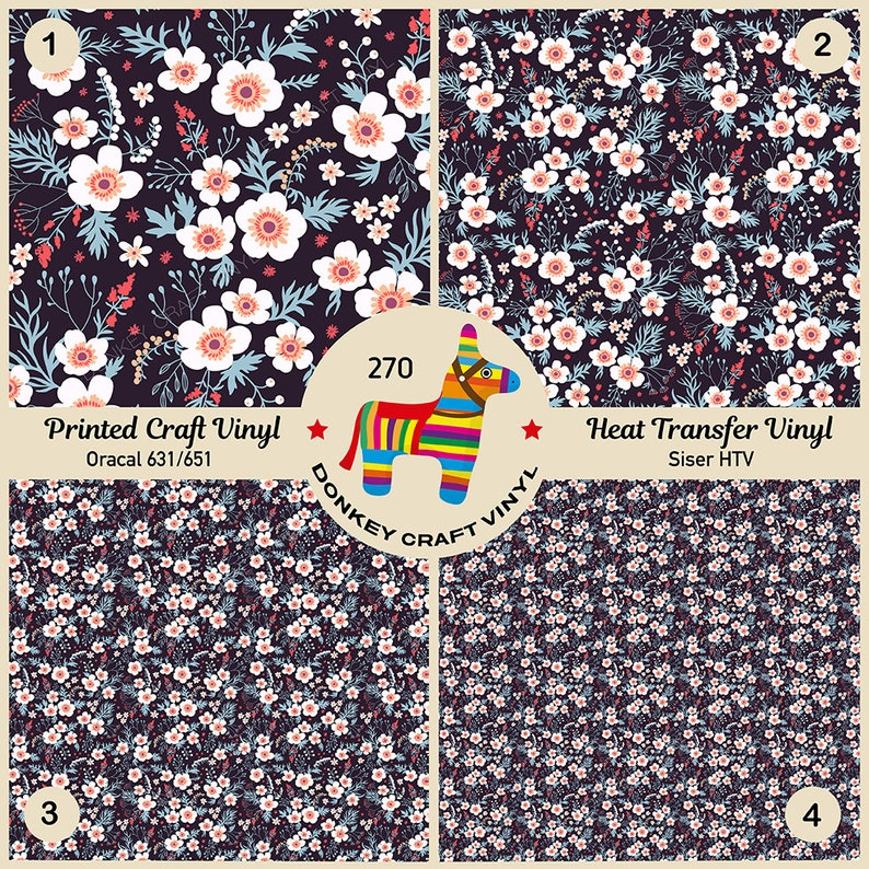 Flower Garden Patterned Iron on Siser Oracal Printed HTV Craft vinyl- 271