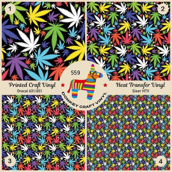 Cannabis Marijuana Leafs Printed Siser HTV 559 Oracal Adhesive Vinyl