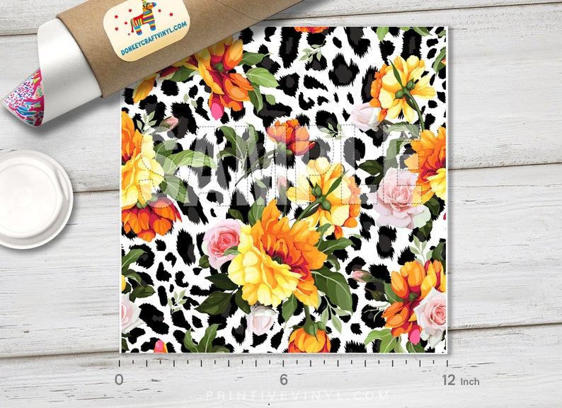 Oracal Adhesive Craft Vinyl- 1149 Siser Heat Transfer Vinyl Iron on Vinyl Floral Leopard Patterned HTV