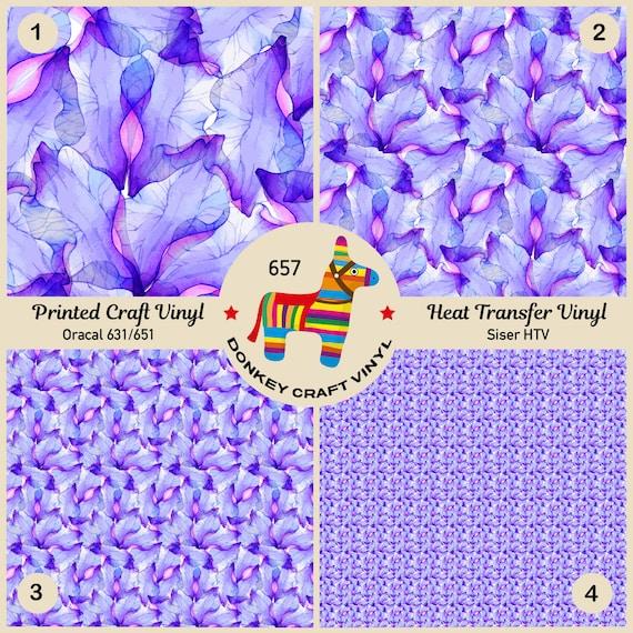 Violet Flower Petal Pattern Printed HTV Siser HTV Craft Vinyl 657 Oracal 651