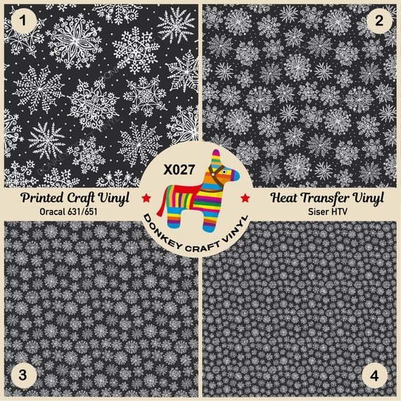 Holiday Floral Snowflakes Printed Patterned Heat Transfer Vinyl craft vinyl sheet
