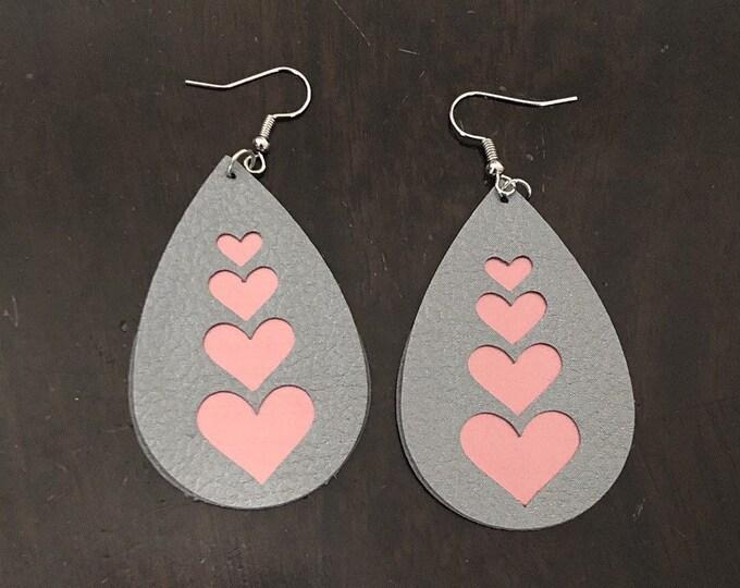 Pink hearts faux leather earrings, heart dangle earrings, teardrop jewelry, double sided faux leather earrings, easy gift