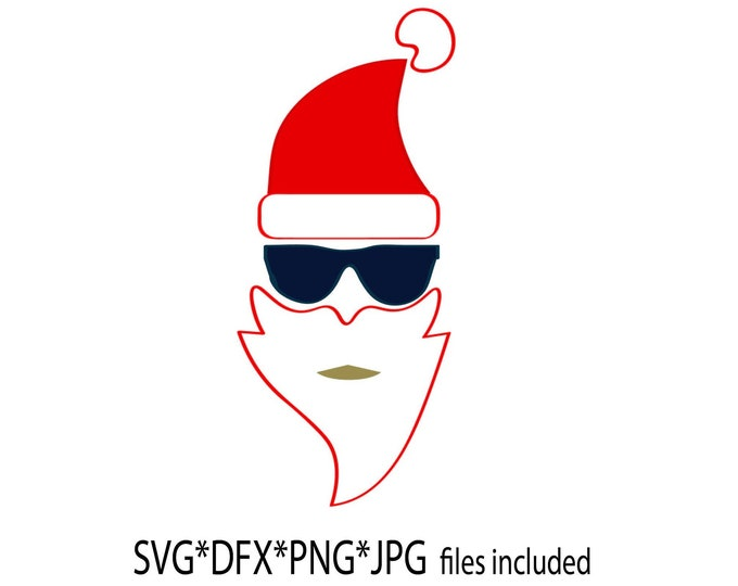 Cool Santa SVG, surfing santa DFX, hipster santa clipart, sunglass santa download