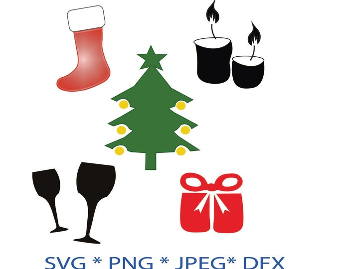 Christmas clipart, holiday svg bundle, xmas svg, winter silhouette, stockings svg, champagne glasses, cheers, celebration, xmas cards