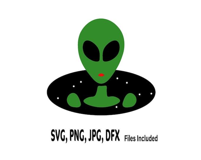 Alien SVG, Space Clip Art, Alien head PNG, Alien girl, Spaceship Cut file
