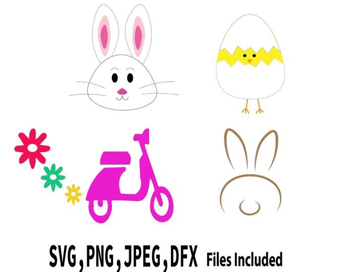 Spring SVG bundle, Easter Bunny SVG, Baby Chick SVG, Spring Cut files