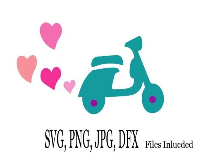 Heart scooter SVG, Scooter Love Digital Download, Valentines Clip Art, Springtime DIY