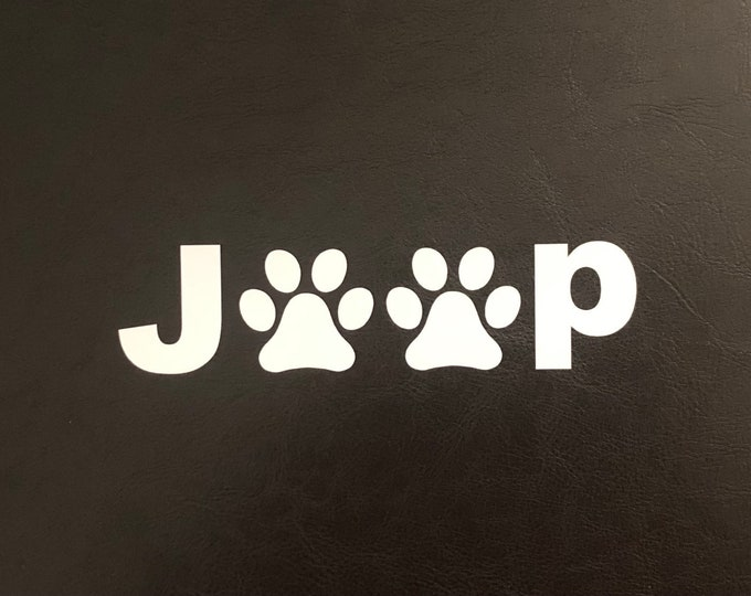 Jeep Paw Print Sticker, Vinyl Jeep Paws Sticker/ Dog Paw bumper sticker