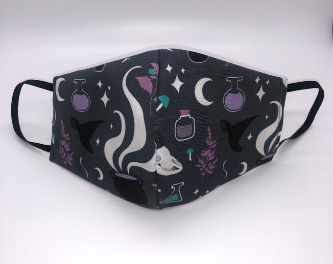witch mask, witch face mask, cute halloween mask, goth mask, cute goth, gothic mask, witchy mask, potion mask, witch style