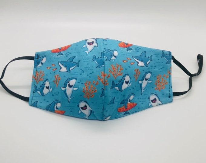 shark mask, boy face mask, summer mask, ocean mask, shark face mask, teen face mask, fish face mask, great white shark, fishing mask