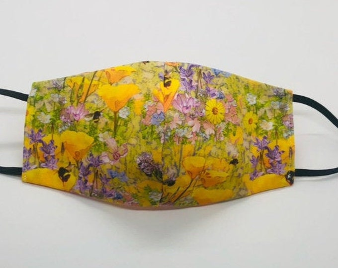 bee mask, bee face mask, poppy flower mask, california poppy, cute flower mask, state flower mask, golden poppies mask, wildflower mask