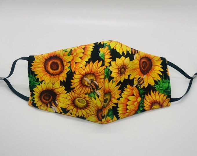 sunflower mask, elegant mask, sunflower face mask, pretty mask, gardener gift, garden mask,